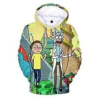 Disfraz de Dibujos Animados Rick Hoodie Sudadera con Estampado 3D Sudaderas con Capucha Morty Ropa Divertida