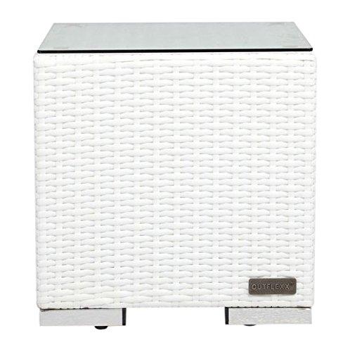 OUTFLEXX Mesa auxiliar de ratán con tablero de cristal en color blanco