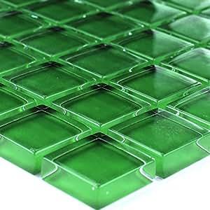 glasmosaik mosaik fliesen gr n uni 23x23x8mm. Black Bedroom Furniture Sets. Home Design Ideas