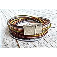 Wickelarmband aus Leder Farbmix braun, Geschenk