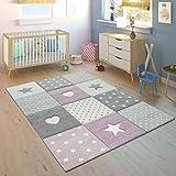 Paco Home Tappeto per Bambini A Quadri Cuori Stelle Diversi Colori e Misure, Dimensione:80x150 cm, Colore:Lila