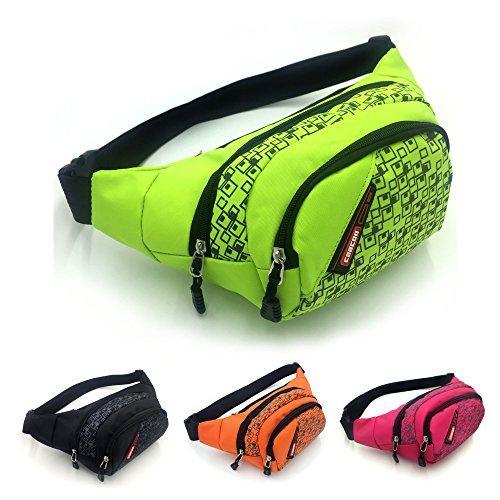CaaCoo Marsupio sportivi 3 tasche con zip di viaggio Escursionismo Outdoor Sport Bum bag vacanze Borsellino del denaro pacchetto Hip (verde)