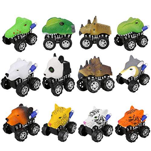 Happy Event 12 stücke Tier Reibung Angetriebenes Auto Ziehen Fahrzeug Mini Tier Auto Spielzeug Für Geschenke Kinder (A)