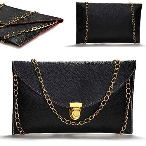 Pinzhi-- Borsa a tracolla a busta da sera, con catena, colore: oro (nero)