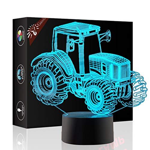 Traktor Geschenk Nachtlicht 3D neben Tischlampe Illusion, Jawell 7 Farben ändern Touch Switch Schreibtisch Dekoration Lampen Geburtstag Weihnachtsgeschenk mit Acryl Flat & ABS Base & USB Kabel
