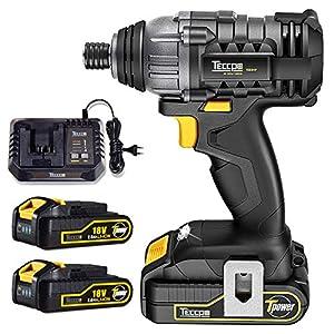 Atornillador de Impacto, TECCPO 180Nm Pistola de Impacto 18V, Velocidad Máxima de 2900 RPM, 2 Batería de 2.0Ah, Cargador Rápido de Media Hora y 6.35mm Portabrocas Rápido – TDID01P