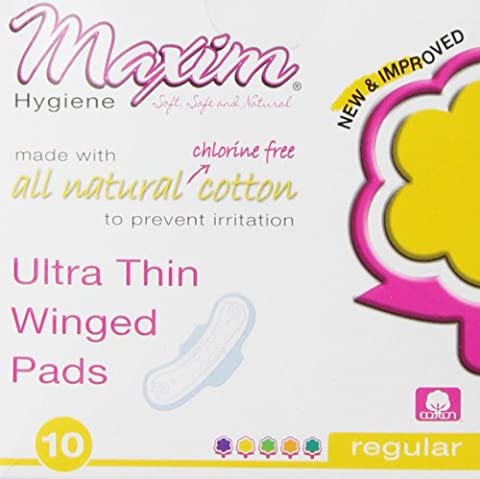 Maxim Ultra Thin, Winged, Chlorinie Free, Hypoallergenic Pads, Daytime, 10 Count Box by Maxim