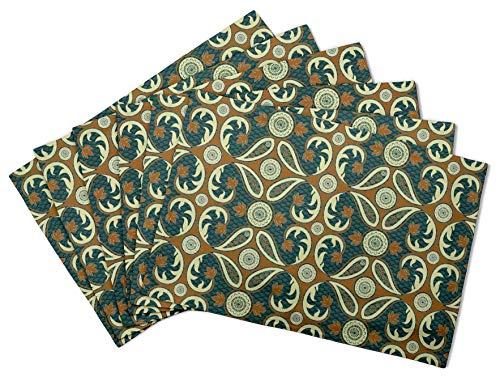 S4Sassy Verde Paisleys cachemir Estera de mesa Impresa lavable Impresa Reversible mantel-16 x 18 pulgadas-4 pcs -