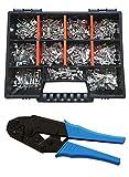 Set Flachsteckhülsen/Flachsteckern 6,3x0,8 Crimpzange Kabelschuhe über 250 Teile