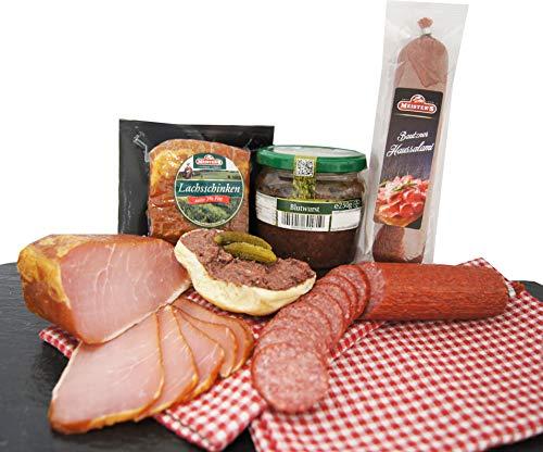 Wurstpaket Oberlausitz   Edel Salami & geräucherter Schinken am Stück   Blutwurst im Glas   verfügbar als Geschenk (Blutwurst)