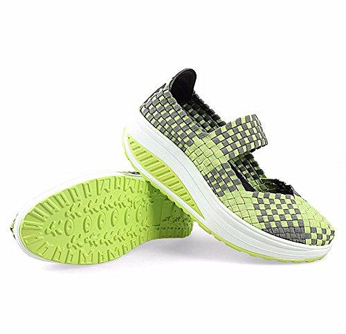 HOMEE Femmes 'S Chaussures Main-Tissé Chaussures Loisirs Respirant Élastique avec Chaussures Paresseuses 37 Eu