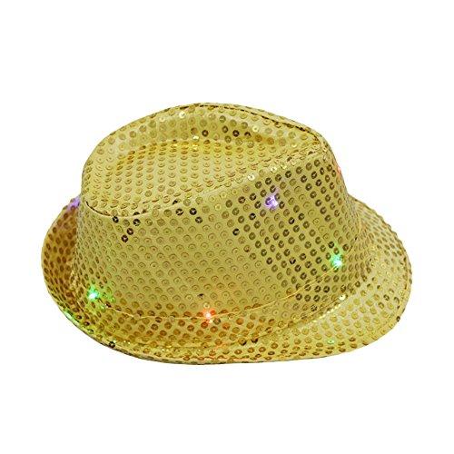 Blinkender LED Trilby Hüte Hip-Hop Dance Gap, forepin® Unisex Helle Beleuchtung Licht bis Hat für Disco, Party, Geburtstag, Halloween (Halloween Bar Party-ideen)