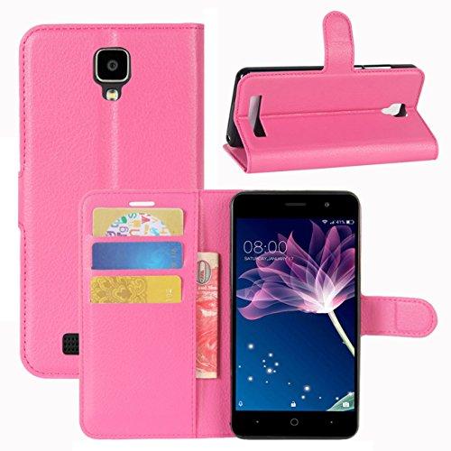 HualuBro Doogee X10 Hülle, [All Around Schutz] Premium PU Leder Leather Wallet HandyHülle Tasche Schutzhülle Flip Case Cover für Doogee X10 Smartphone (Rose)
