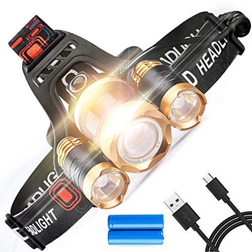 Talismanprod USB Wiederaufladbarer LED-Scheinwerfer - Leistungsstarker LED-Scheinwerfer - 4 Beleuchtungsmodi - 300 Meter Reichweite, 6000 Lumen | Laufen | Trail | Wandern oder MTB