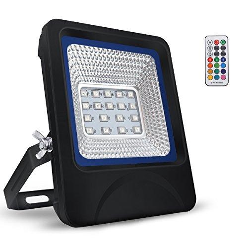 (B-right Floodlight LED-Strahler, 10 W, 20 W, 30 W, IP66, mit Fernbedienung, für Farbwechsel für Garten, Hof, Terrasse, Square Usine etc. 10.00watts)