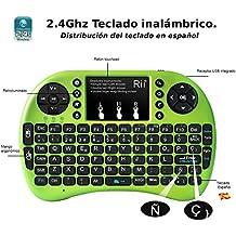 Rii mini i8+ Mini teclado ergonómico con ratón tipo touchpad incorporado. Compatible con SmartTV, Mini PC, Android, PS3, PS4, Xbox, HTPC, PC, Raspberry Pi, Kodi, XBMC, IPTV, MacOS, Linux y Windows XP/7/8/10 (Rii mini i8+ Verde)