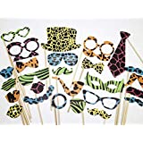 Party Propz JUNPO03 Jungle Theme Photobooth Prop, 26 Pieces