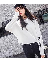 Oto?o de Las Mujeres 'ropa Suelta Letra Impresa de Manga Larga Pullover Manga División,Blanco,M