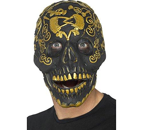 Smiffys Herren Deluxe Maskerade Totenkopf Maske mit beweglichem Kiefer, One Size, Gold, 45092 Skull Deluxe Maske
