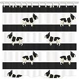 nyngei Tiere Dusche Vorhänge für Badezimmer Französische Bulldogge in Schwarz Streifen Schimmelresistent Duschvorhang Set Haken enthalten 179,8x 179,8cm