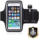 Armband For Running By Zuffon | Mobile Holder For Your Entire Jogging And Exercise Time | Black In Colour With Glowing White Stripe | Both For Male And Female | Adjustable Free Size | Screen Size Upto 6 Inch | Hole For Your Earphone Or Audio Wire | Compat