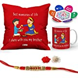 "Indigifts Rakhi Gifts For Brother Bro Sis Sweet Moment Quote Printed Gift Set Of Cus 12""x12"" With Filler, Mug 330 Ml, Crystal Rakhi For Brother, Roli, Chawal & Greeting Card - Rakshabandhan Gifts For Brother, Rakhi For Brother With Gifts, Ra"