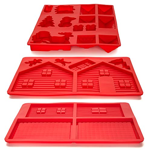 Gingerbread House Silicone Mold Set for Christmas Holiday Season - Non-Stick Baking Pan, Easy to Clean