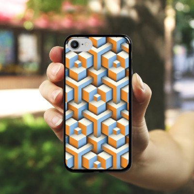 Apple iPhone X Silikon Hülle Case Schutzhülle Muster Würfel Illusion Hard Case schwarz