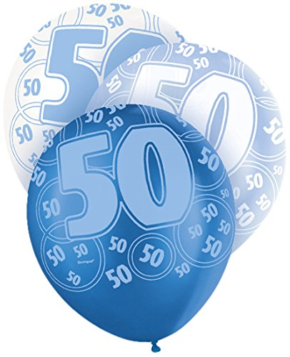 12-latex-glitz-blue-50th-birthday-balloons-pack-of-6