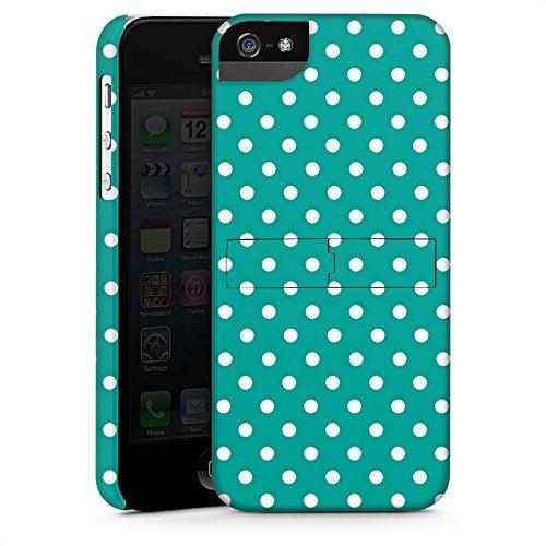 Apple iPhone 5s Housse Étui Protection Coque Petits points Turquoise Motif CasStandup blanc