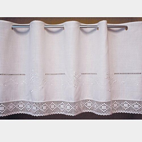 Scheibengardine 60x145 cm aus schöner Landhaus Serie Stickerei mit Häkelspitze in weiß 100{dbbf5293da93e26e603bcd347575b1ea3e946b1336de30c94a53c1f4b4b1c2ac} Bistrogardine gehäkelt & bestickt Country Chic Gardine Typ368