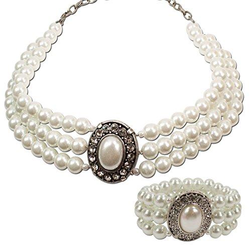 Alpenflüstern Trachtenschmuck-Set Perlen-Trachtenkette und Trachten-Armband Sissi - Damen-Trachten-Schmuck, Trachtenset Dirndl-Kette und Trachten-Armkette Creme-Weiß SET025