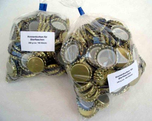 Kronenkorken mit Goldlackierung (2 x 350 g; ca. 320 Stück) zum Verschließen von Bierflaschen