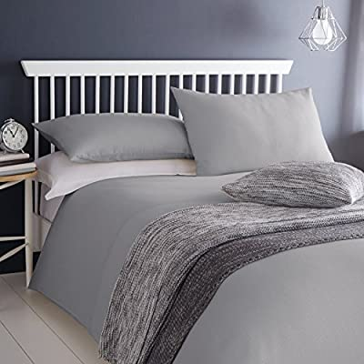 Serene Ashlea Waffle 100% Cotton Bedding Duvet Cover 2 Pillowcase Set, Grey - Double Size produced by Dove Mill Bedding - quick delivery from UK.