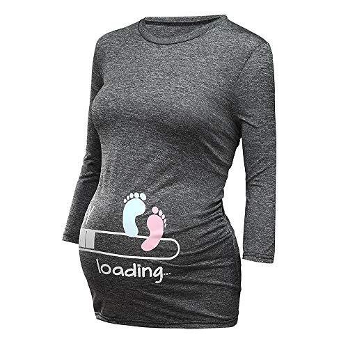 Schwangere Damen Lustige witzige süße Umstandsmode Baby Loading Umstandstop Basic Pflege Shirt Rundhals Kurze Ärmel Stillzeit Kleidung Mama Stillnachthemd Mutterschaft T-Shirt