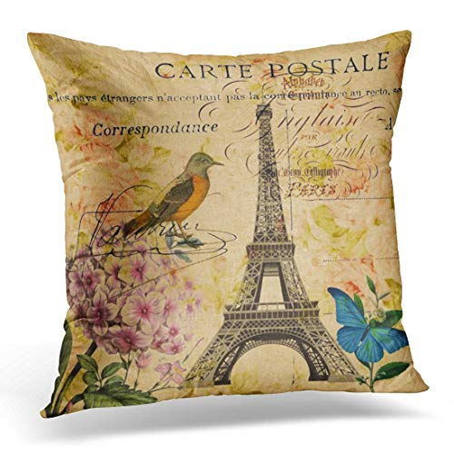 Dekokissen Vintage Botanical Scripts Hydrangea Französisch Vogel Paris Eiffel Teal Nouveau Dekorative Kissen Home Decor Square Kissen (Französische Vintage Dekokissen)