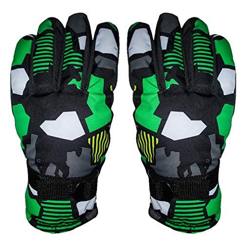 DEMU Wasserdichte Kinder Handschuhe Ski Kinderhandschuhe Finger-Handschuh Winterhandschuhe Grün