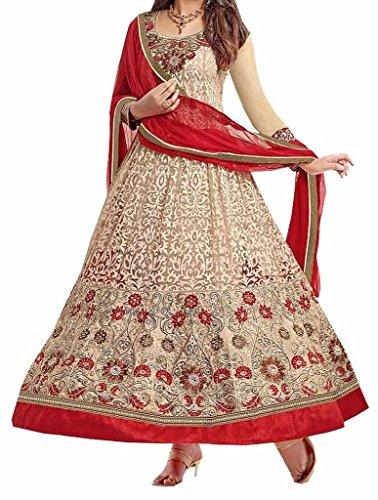 Salwar Suit (Sai Fab Women\'s Net Brasso Gold Embroidered Work Semi-Stitched Salwar Suits)