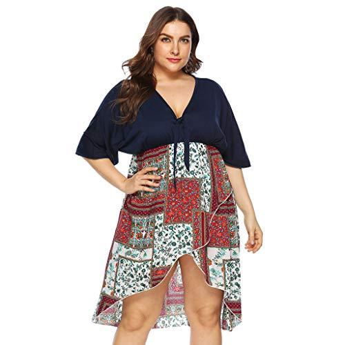Kleid der Plusgrößen-Frauen, gedrucktes ärmelloses ärmelloses nacktes ärmelloses Sommer-neues reizvolles Strand-Art-Komfort-Laib