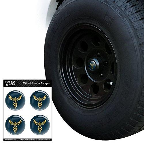 Caduceus Medical Symbol Arzt Krankenschwester EMT Tire Rad Center Gap resin-topped Abzeichen Aufkleber–7,1cm (7,1) Durchmesser - Emt-abzeichen