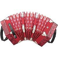 Concertina Accordion Acordeón Instrumento Botones, Professional 20 Botones Teclas Concertina Niños Juguete Accordion Accesorio para Instrumentos Musicales con Bolsa(Rojo)