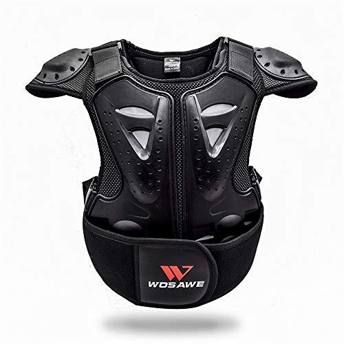 WOSAWE Kinder Motorradjacke Brustpanzer Weste-Schutz Motocross Enduro Sport mit Protektoren für 4-15 Jahre alt Kinder M