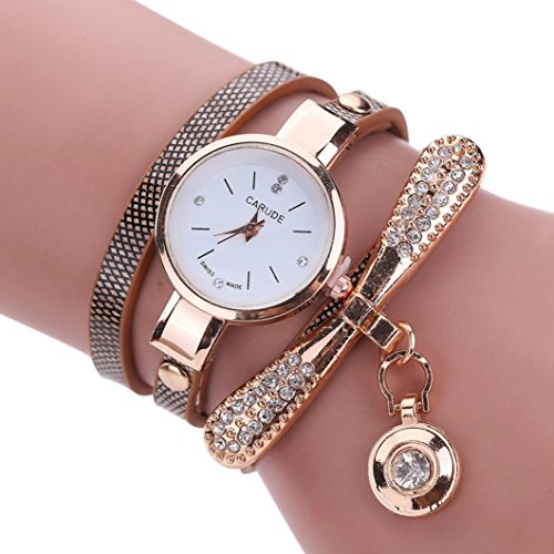 Sonnena Damen Armbanduhren, Mode Edelstahl Analoge Quarz Armbanduhr Frauen Metallband Damenuhr Frauen Armband Uhr Mode Strass Armbanduhren Wrist Watch (Braun)