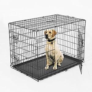 Cage chien caisse de transport animal domestique pliable fil d'acier 4 loquets plateau 91L x 61l x 67Hcm noir neuf 23