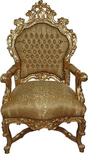 Casa Padrino Barock Luxus Thron Sessel Gold Muster/Gold mit Bling Bling...