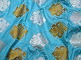 Banaras Brokat Seide Türkis Blau Bronze Silber Banaras