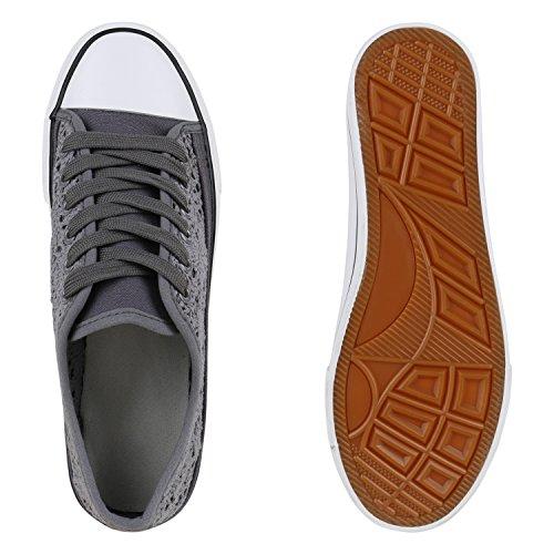 Damen Sneakers Spitze   Sneaker Stoffschuhe   Sportschuhe Basic   Freizeit Schuhe Dunkelgrau