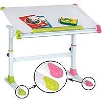 Preisvergleich für CARO-Möbel Kinderschreibtisch Schülerschreibtisch Helena Höhenverstellbar und neigbar in Weiß mit wechselbaren Kappen in Grün und Rosa Pink für Jungs und Mädchen