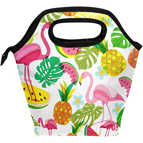 Sommer Tropical Pink Flamingo Palm Leaves Lunchpaket Tote Lunchbox Handtasche, Wassermelonen Jungen Mädchen Frauen Isolierte Lebensmittelbehälter Gourmet Cooler Warm Pouch Stud