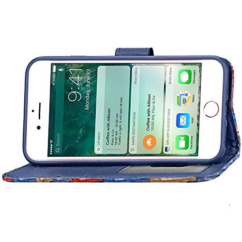 Coque pour Apple iPhone 7 4.7,Housse en cuir pour Apple iPhone 7 4.7,Ecoway étui en cuir PU Cuir Flip Magnétique Portefeuille Etui Housse de Protection Coque Étui Case Cover avec Stand Support Avec de Abstract rainbow -05